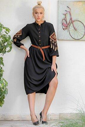 Kadın Siyah Dik Fırfırlı Yaka Patı Düğmeli Kolları Tribal Nakışlı Dokuma Elbise M10160000EL94173