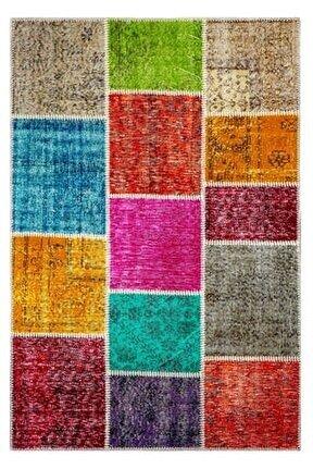 Multi Renk Patchwork El Dokuma Halısı 120x180