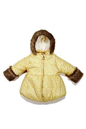 Kız Bebek Kürk Kapüşonlu Mont