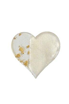Epoksi Magnet Gold Gümüş Varaklı Kalp Model 7 Cm (10 Adet) Altın