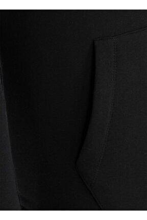 Erkek Baskılı Siyah Kapüşonlu Sweatshirt