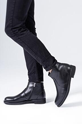 Hakiki Deri Erkek Bot Fermuarlı Kışlık Kaymaz Bağcıksız Ayakkabı