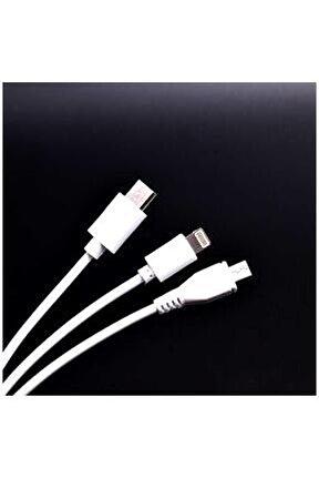 3 In 1 Usb Kısa Kablo Beyaz
