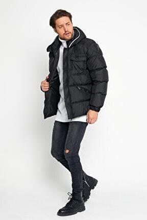 Erkek Kapüşonlu Şişme Mont Siyah