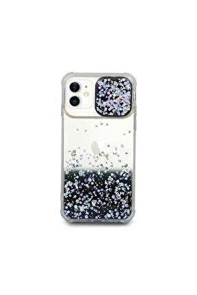 Iphone 11 Uyumlu Kılıf Simli Sürgülü Silikon Kılıf Siyah
