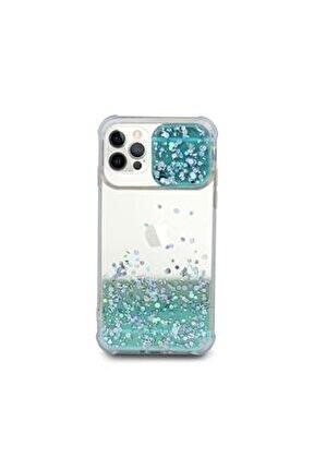 Iphone 12 Pro Uyumlu Kılıf Simli Sürgülü Silikon Kılıf Yeşil