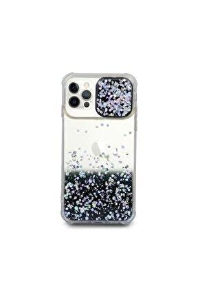 Iphone 12 Pro Kılıf Simli Sürgülü Silikon Kılıf Siyah Uyumlu
