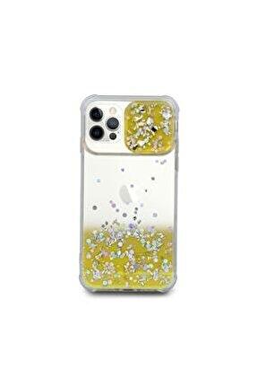 Iphone 12 Pro  Uyumlu Kılıf Simli Sürgülü Silikon Kılıf Sarı