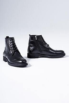 Hakiki Deri Erkek Bot Bağcıklı Kışlık Kaymaz Taban Ayakkabı