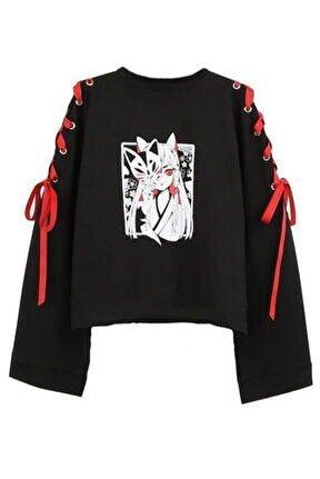 Kadın Siyah Kurdale Detay Anime Sweatshirt