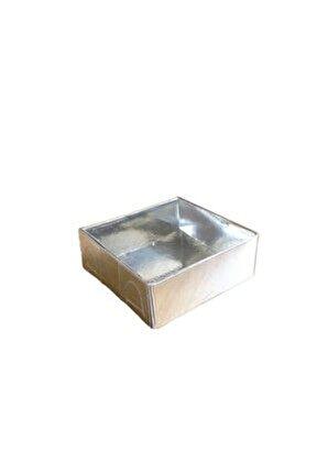 Asetat Kapaklı Karton Kutu 6x6x2.5 cm 50 Adet Gümüş