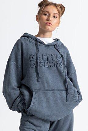Unisex Gri Yıkamalı Kapüşonlu Hoodie Sweatshirt