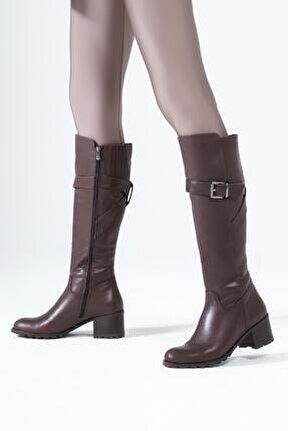 Hakiki Deri Kadın Çizme Metal Tokalı Diz Altı Rahat Kış Ayakkabısı