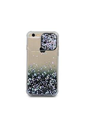 Iphone 6 Uyumlu Kılıf Simli Sürgülü Silikon Kılıf Siyah
