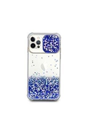 Apple Iphone 12 Pro Uyumlu Kılıf Simli Sürgülü Silikon Kılıf Mavi