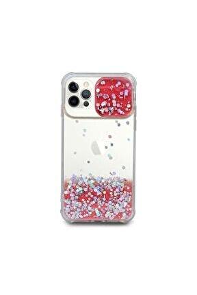 Iphone 12 Pro Uyumlu  Kılıf Simli Sürgülü Silikon Kılıf Kırmızı