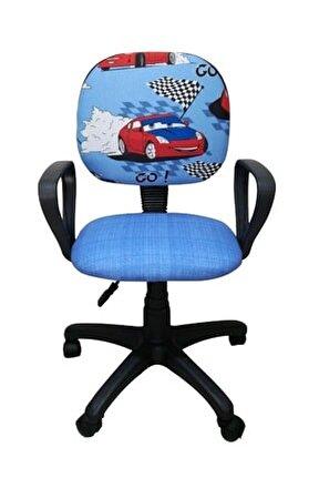 Çocuk Odası Ders Çalışma Ofis Koltuğu Yarış Arabası Desenli