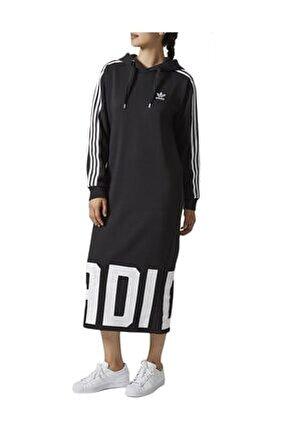 Hoodie Dress Kadın Elbisesi CY7481 Siyah