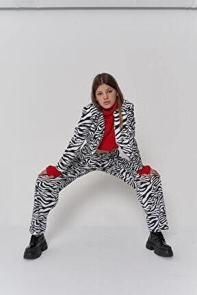 Kadın Siyah Beyaz Zebra Desen Fermuarlı Yüksek Bel Marvin Pantolon