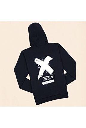 Siyah Sırt Baskı X Sweatshirt