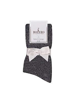 Kadife Dokulu Kadın Kışlık Ev Çorabı