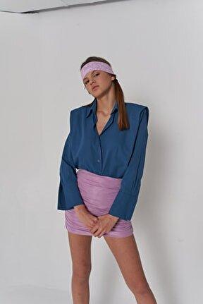 Kadın Mavi Oversize Vatkalı Düğmeli Kepy Gömlek