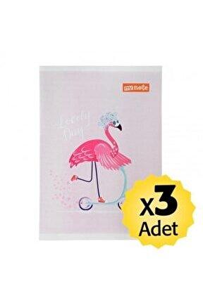Okul Defteri A4 Çizgili 60 Yaprak 3 Adet - Flamingo Desenli