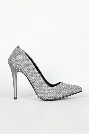 Yüksek Topuklu Platin Simli Kadın Ayakkabı Sh-6500