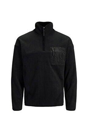 Jack & Jones Jorarısto Sweat Half Zıp Siyah Erkek Sweatshirt