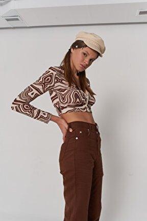 Kadın Kahverengi Uzun Kol Crop Lufo Bluz
