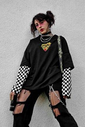 Kolları Dama Alev Oversize Sweatshirt