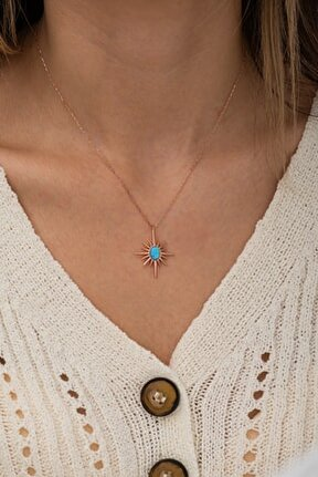 925 Ayar Gümüş Firuze Taşlı Kutup Yıldızı Kolye Kadın Gümüş Kolye