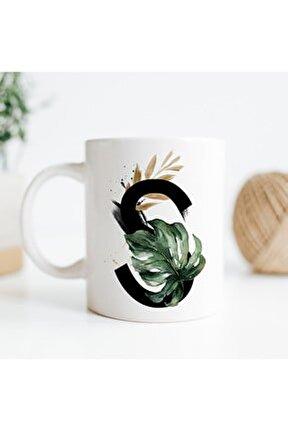 S Harfi Baskılı Çiçek Desenli Dekoratif - Baş Harf Baskılı Kupa Bardak - S Harfli Kahve Bardağı