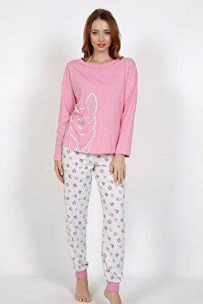 Kadın Pembe Örme Uzun Kol Baskılı Pijama Takım