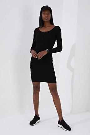 Patlı Yaka Detaylı  Siyah Kadın Kaşkorse Elbise