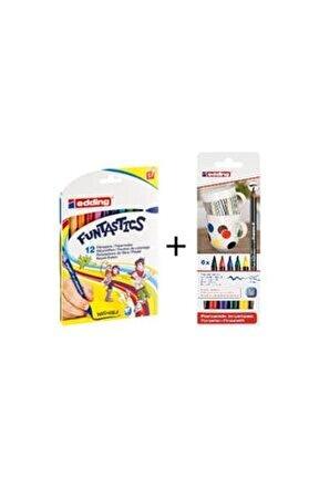 Funtastıc 12 Renk Ince Uçlu Keçeli Kalem + Ana Renkler Porselen Boyama Kalem Seti