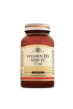 Vitamin D3 1000 Iu 25 Mg (100 Kapsül)