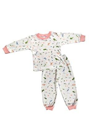 Kız Çocuk Beyaz Pamuklu Kuş Desenli Pijama Takımı