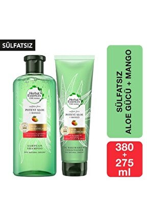 Sülfatsız Renk Koruma Ve Nem Aloe + Mango Şampuan 380 Ml + Saç Bakım Kremi 275 Ml