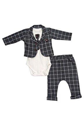 Erkek Bebek Gri Pamuklu Zıbınlı Kravatlı Takımı