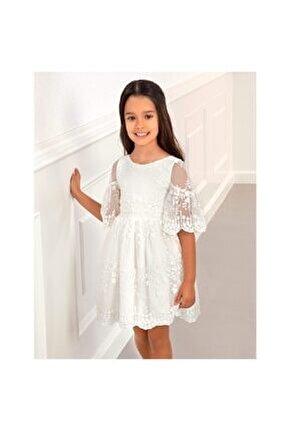 Kız Çocuk Çiçekli Tül Elbise