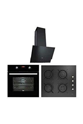 Chef 3 Ankastre Üçlü Set ( HAK 625 N Fırın + ATV 60 Davlumbaz + HEL LUX 60 4G AI AL L Ocak)