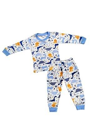 Erkek Çocuk Beyaz Dinozor Desenli Pijama Takımı