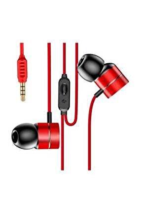 Encok Wire H04 Serisi Kulakiçi Mikrofonlu Kulaklık Kırmızı