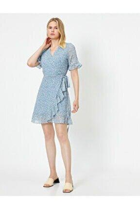 Kadın Mavi Çiçek Desenli Anvelop Elbise