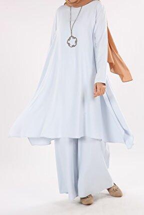 Kadın Mavi Kolyeli Salaş Pantolonlu Takım