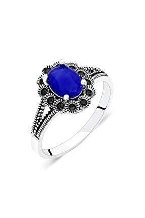 Yüzük Safir Taşlı Gümüş Yüzük Kadın Yüzüğü Yzk-399