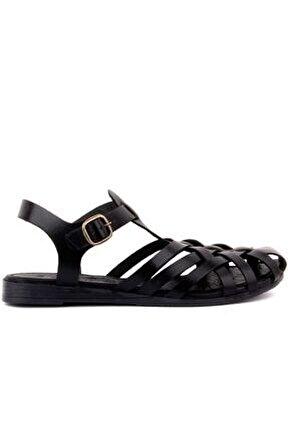 - Siyah Deri Tokalı Kadın Bodrum Sandalet