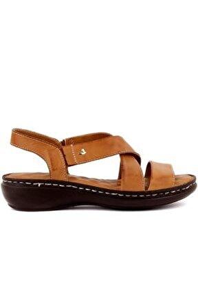 Iloz - Taba Deri Kadın Sandalet
