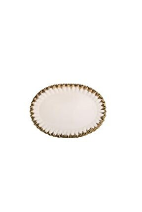 Beyaz Altın Avangarde Oval Sunum Tabak 38cm